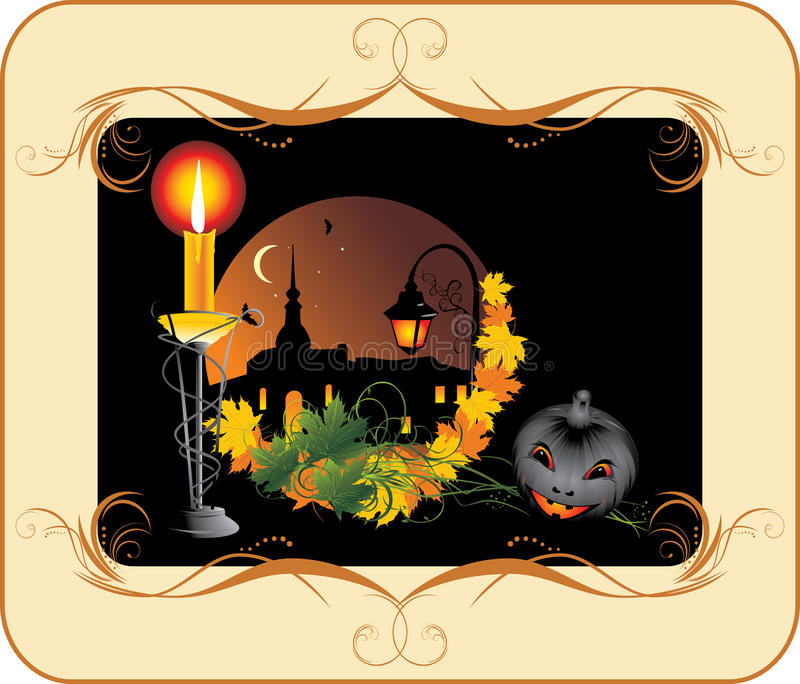 Halloween. Holiday composition for card stock illustration
