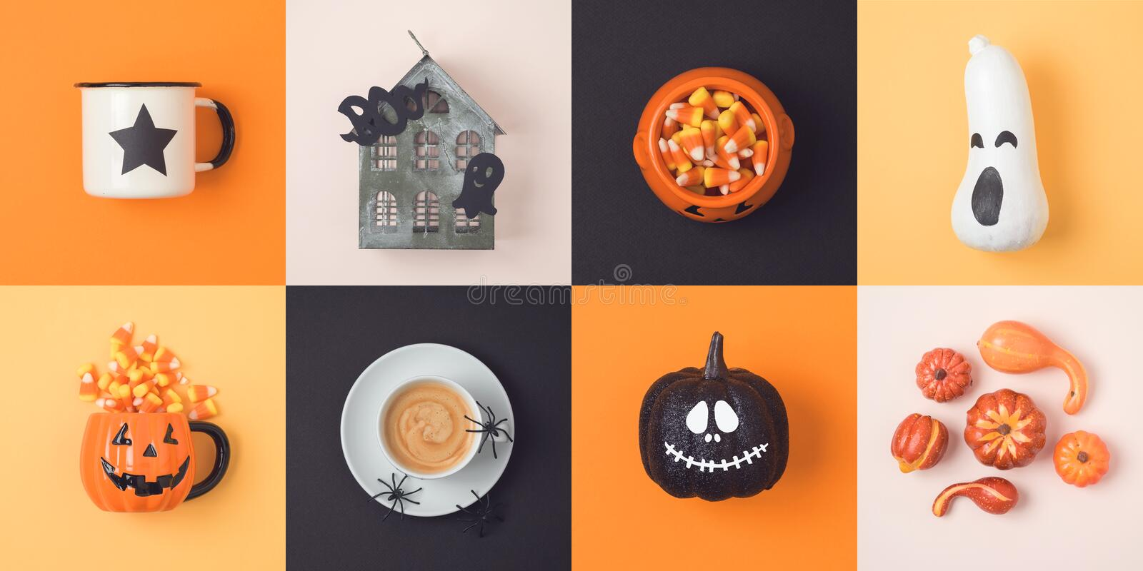 Halloween holiday concept with jack o lantern pumpkin and decorations. View from above. Flat lay stock photos