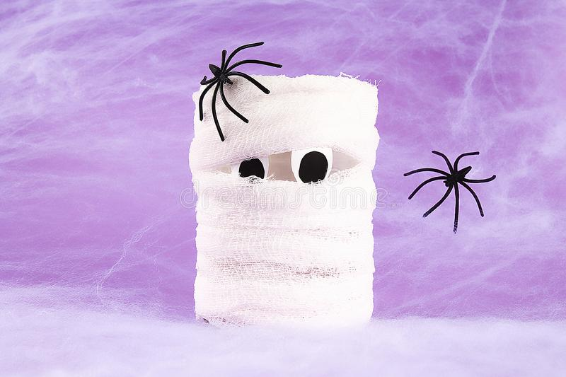 Halloween holiday concept. White spider web with two black spider web purple background. Diy mummy royalty free stock photo