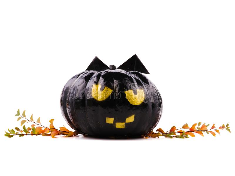 Halloween holiday decoration. Halloween pumpkin. pumpkin decor with funny faces royalty free stock photos