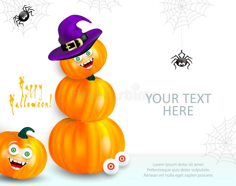 Halloween holiday design template with copy-space for your text. Happy orange pumpkin with funny monster face and witch hat showin royalty free illustration