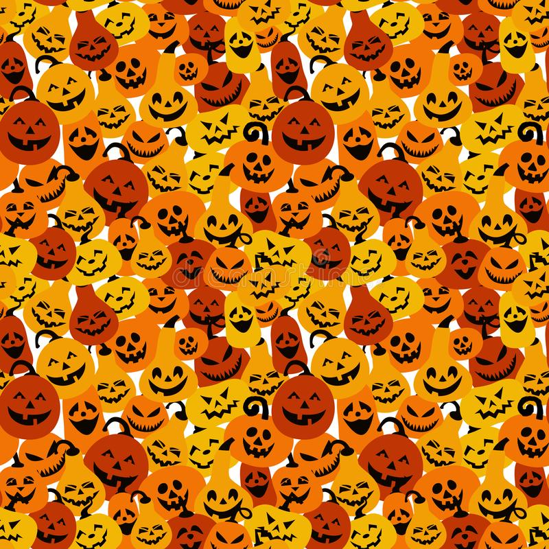 Halloween holiday with different pumpkins, seamless surface background royalty free illustration