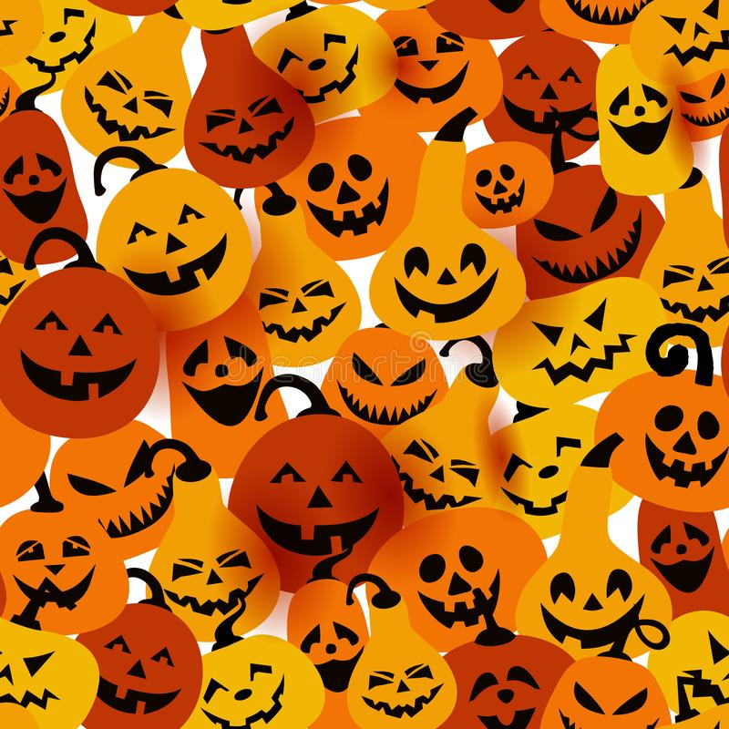 Halloween holiday with different pumpkins, seamless surface background stock illustration