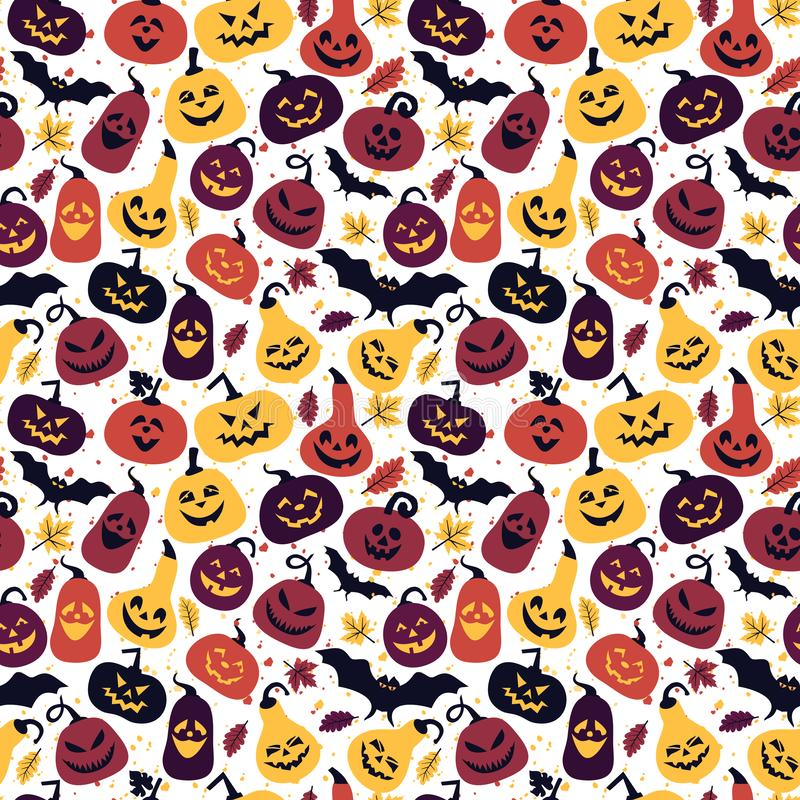 Halloween holiday with different pumpkins, seamless surface colors background stock illustration