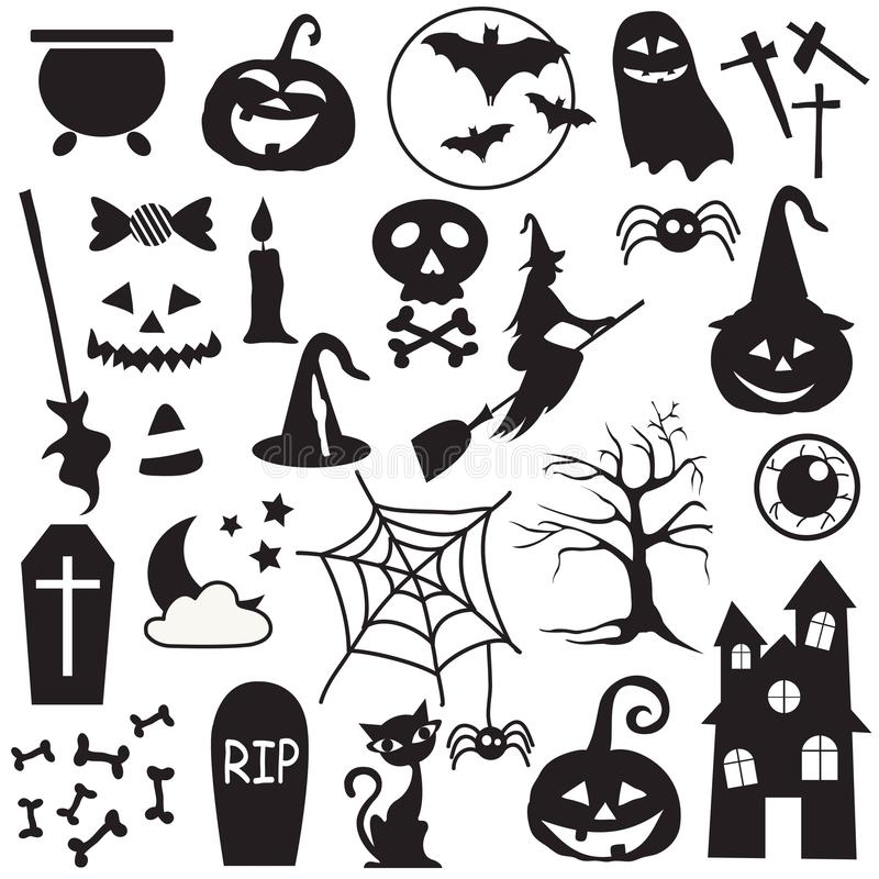 Halloween holiday graphic template. Flat icons vector illustration