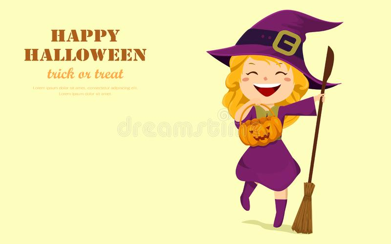 Halloween holiday. Happy cute little girl witch with a pumpkin bucket and a broom. Flat design cartoon vector illustration vector illustration
