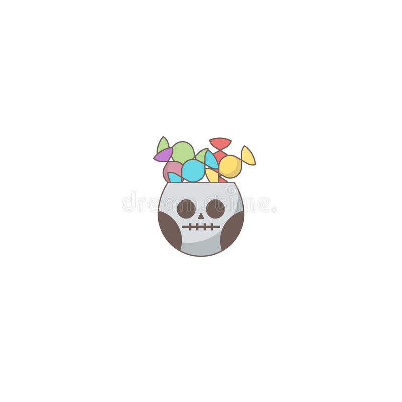 Halloween holiday icon, Skull bonbon stock illustration