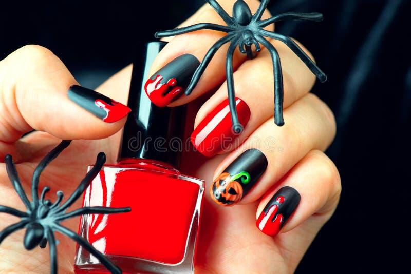 Halloween holiday manicure design ideas royalty free stock photos