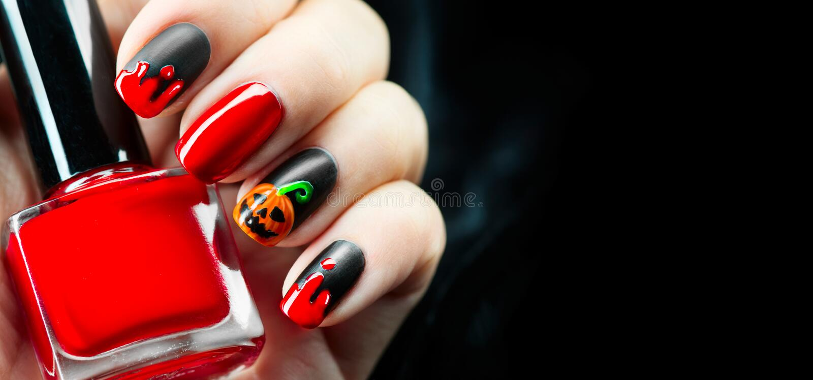 Halloween holiday manicure design ideas stock images