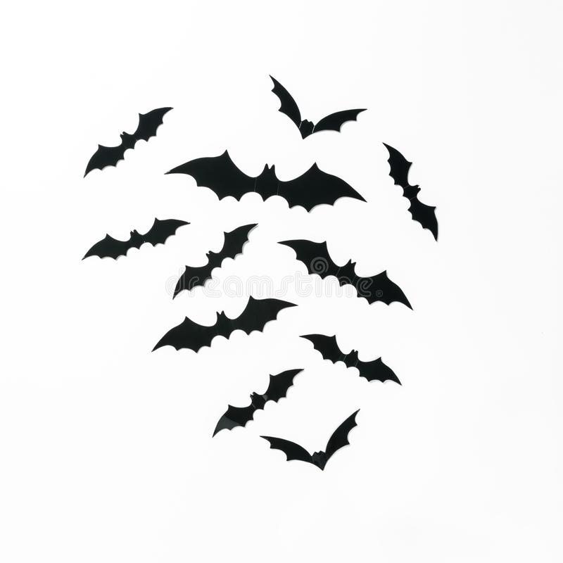 Halloween holiday minimal top view of bats on white background stock photo