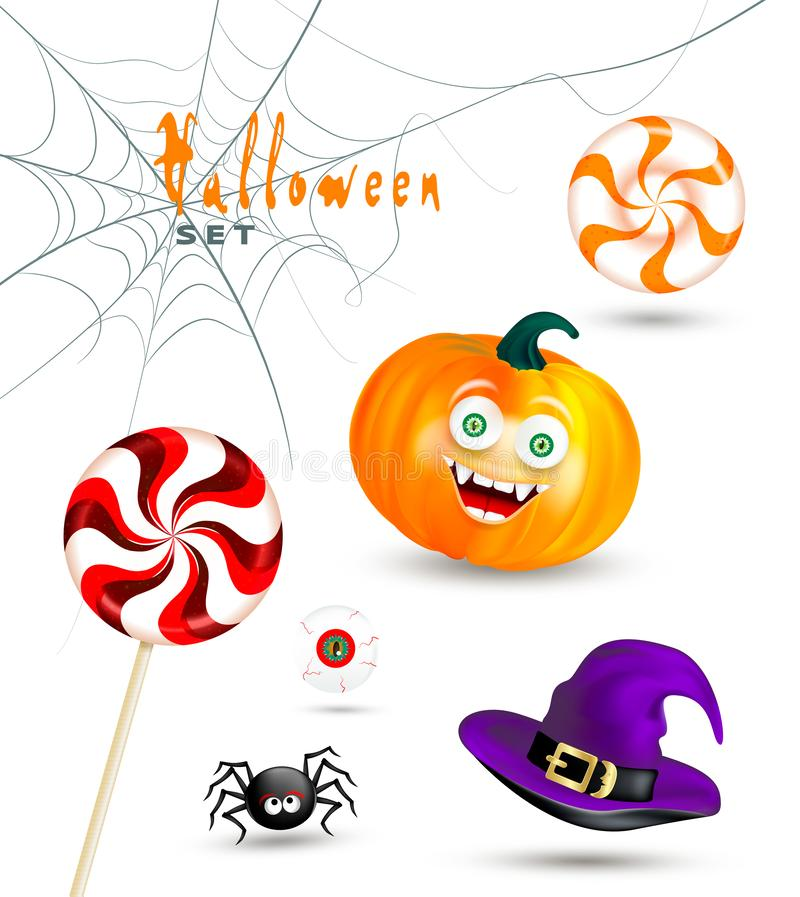 Halloween holiday objects on white background. Happy orange pumpkin with funny monster face, witch hat, cute spider, cobw royalty free illustration