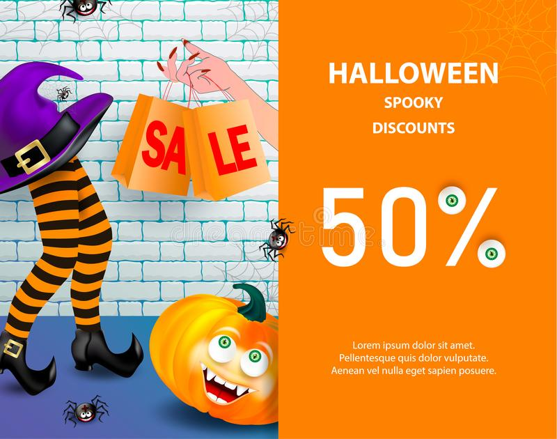 Halloween holiday sale banner with pumpkin happy monster face, purple witch hat, legs with striped stockings, cute smiling spiders stock illustration