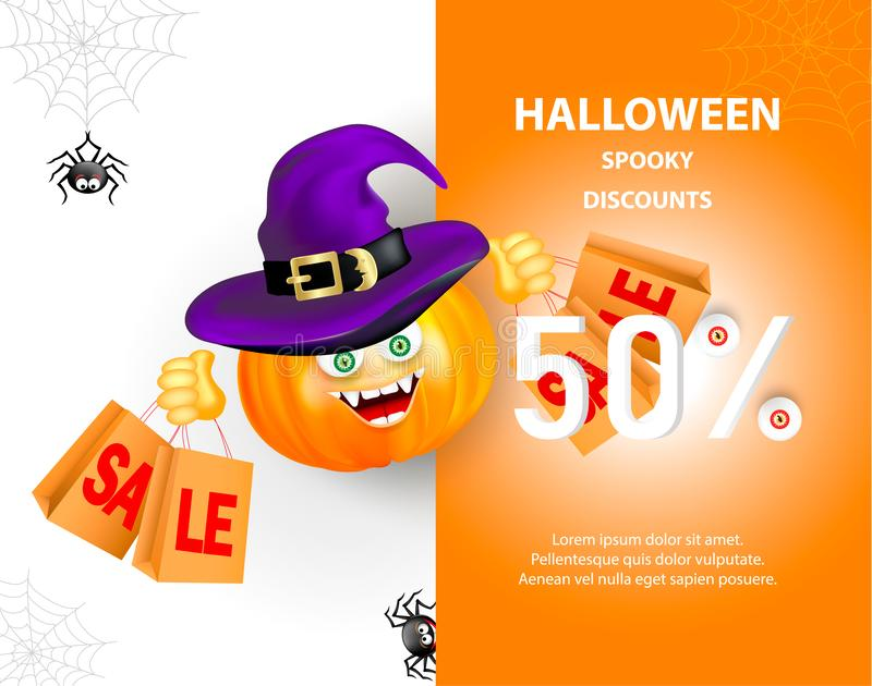Halloween holiday sale banner with pumpkin with happy monster face, purple witch hat and shopping bags, and cute smiling spiders o vector illustration
