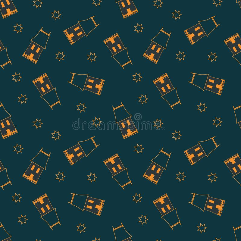 Halloween Holiday Seamless Pattern With Cartoon Spooky line Drawing houses. stock illustration