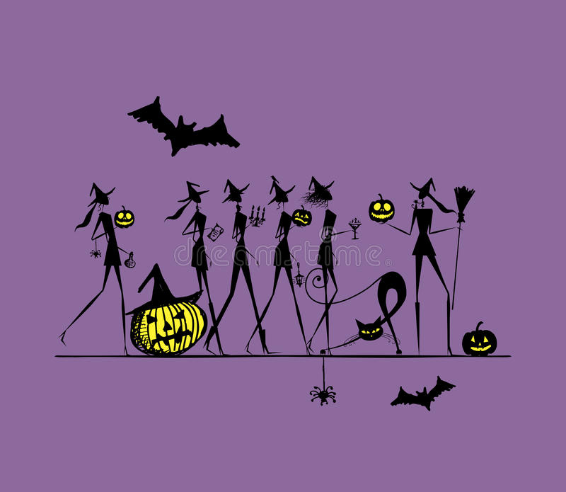 Halloween Holiday, Young Witches For Your Design Royalty Free Stock Images