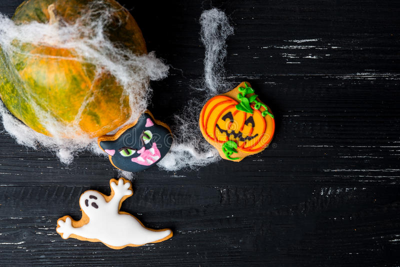 Halloween homemade gingerbread cookies background royalty free stock photo