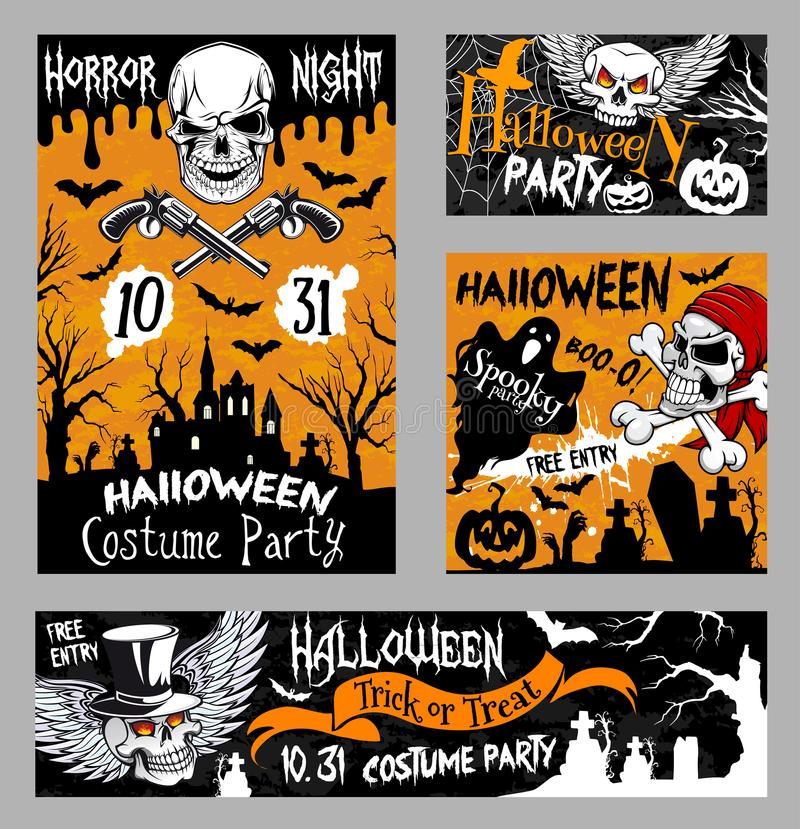 Halloween horror skull poster, night party design stock illustration