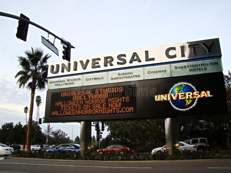 HALLOWEEN HORROR NIGHTS led advertising sign. LOS ANGELES, California - September 19, 2017: HALLOWEEN HORROR NIGHTS led advertising sign board at UNIVERSAL royalty free stock photo
