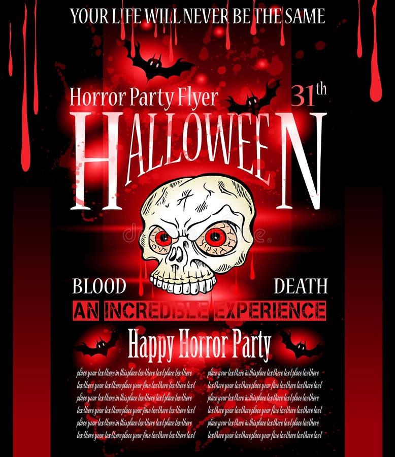 Halloween-Horror-Parteiflieger lizenzfreie abbildung