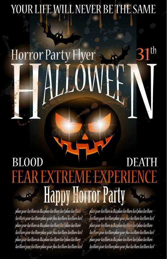 Halloween Horror Party Flyer vector illustration