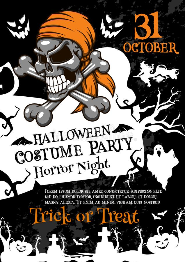 Free Halloween Horror Party Poster With Spooky Skull Stock Photo - 100132150