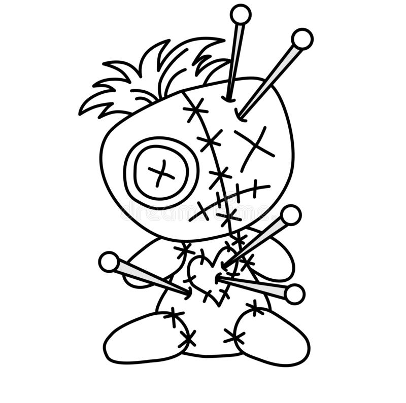 Free Halloween Horror Spirituality Voodoo Cuddly Bear, Doll Punctured By Pins / Pierced Hanging On The Gallows. Outlines, Contours Royalty Free Stock Photography - 144433247