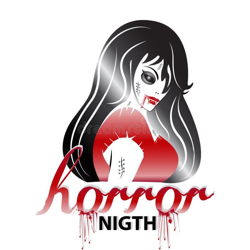 Halloween-Horrorfrauen-Ikonenlogo stock abbildung