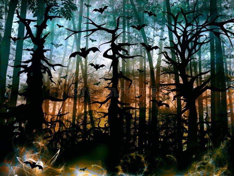 Halloween-Horrorwald mit Schlägern - dunkle Landschaft vektor abbildung