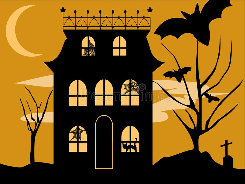 Download Halloween House stock vector. Image of house, moon, horrific - 9674194