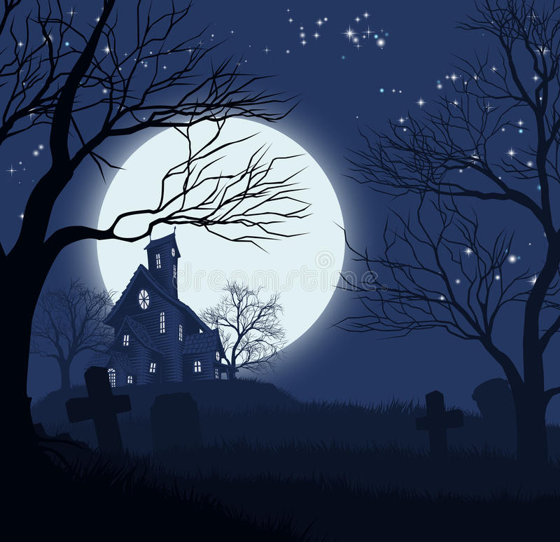 Halloween House Background. A Halloween spooky haunted house and graveyard background stock illustration