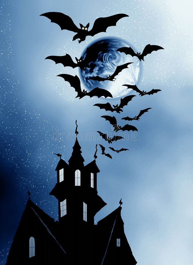 Halloween. House and bats. royalty free stock photos
