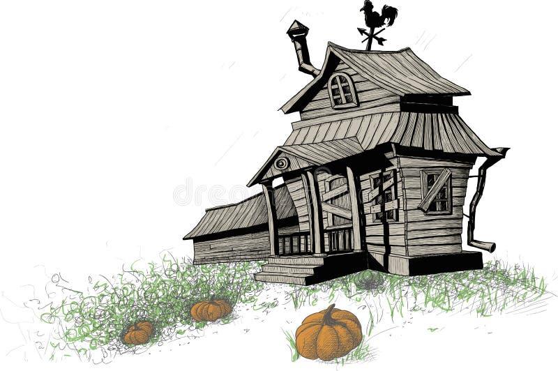 Halloween house color stock illustration