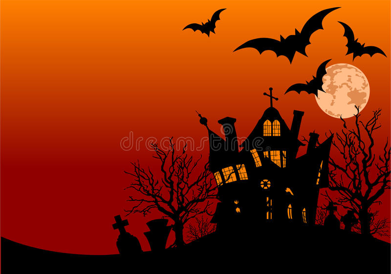 Halloween house flyer royalty free illustration