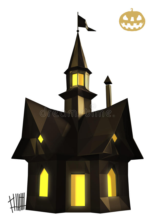 Halloween house low poly vector illustration
