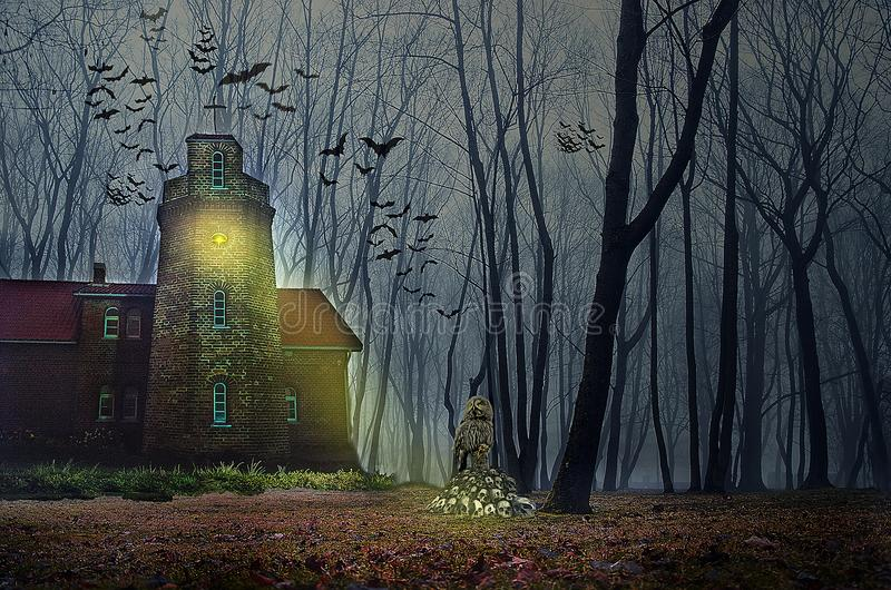 Halloween house with Moon and bats. Old ruined sinister house by night. Haunted house with dark scary horror atmosphere royalty free stock image