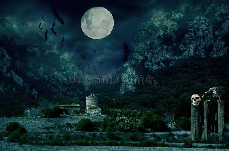 Halloween house with Moon and bats. Sinister scene by night, with dark scary horror atmosphere. Photo manipulation stock images