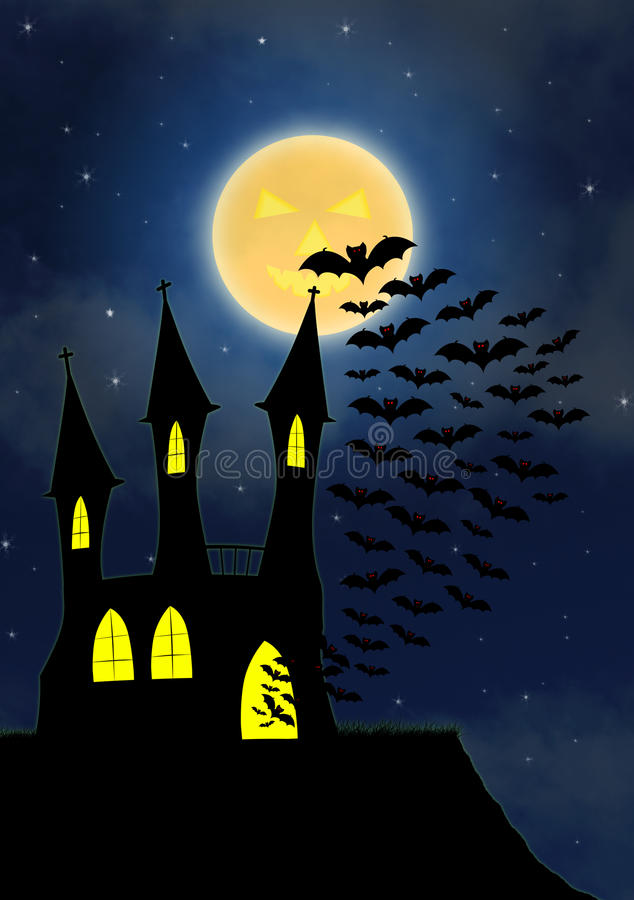 Halloween house party full moon royalty free illustration