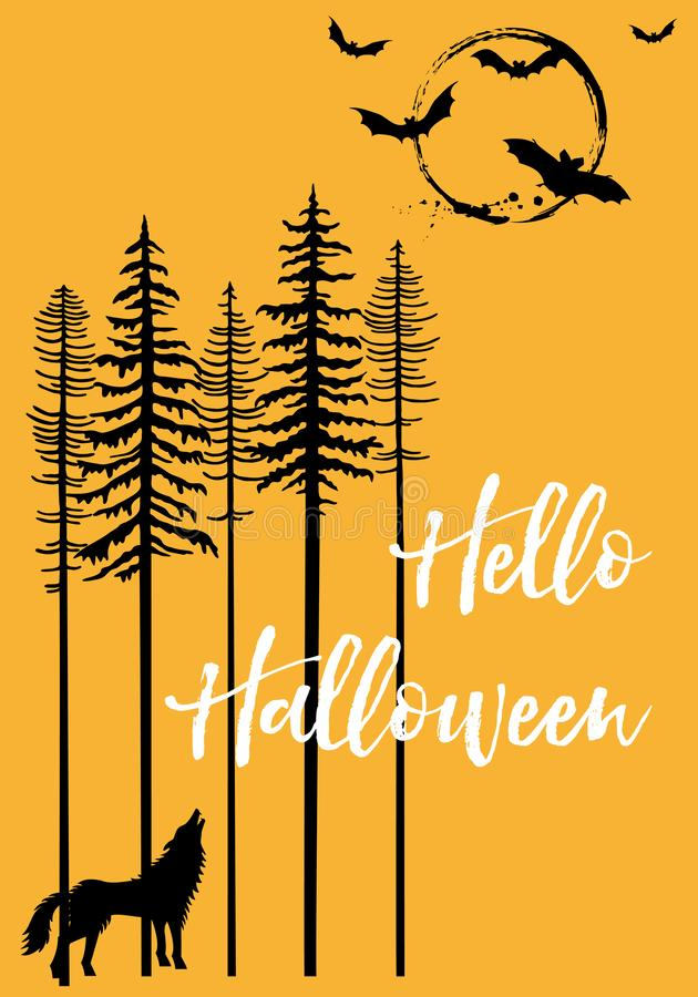 Halloween with howling wolf and bats, vector. Halloween background with trees, howling wolf, moon and flying bats, vector illustration stock illustration