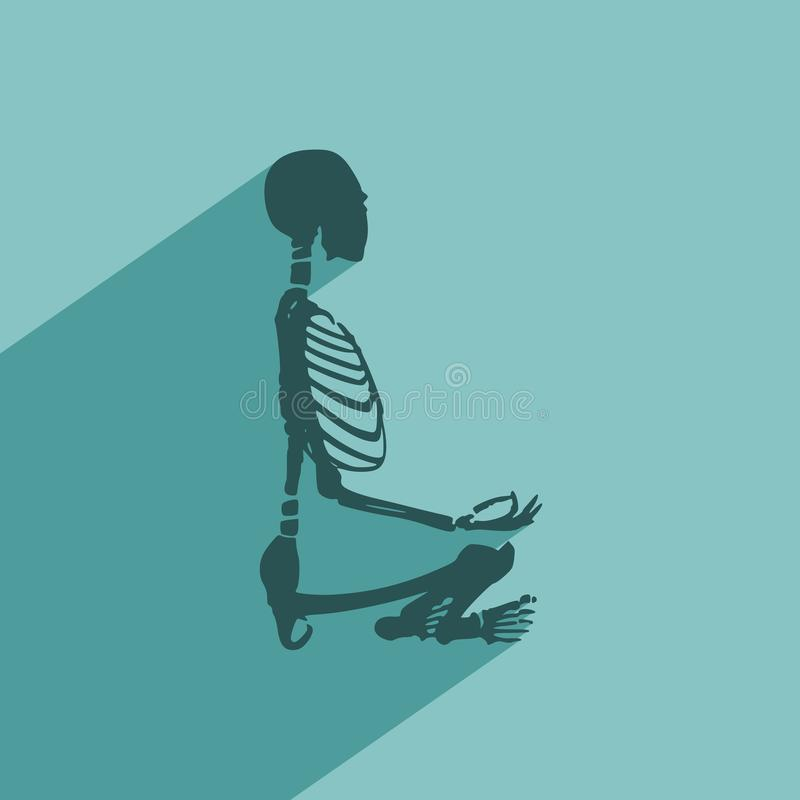 Halloween human skeleton. Human skeleton in yoga meditation pose. Halloween party design template. Web icon with long shadow vector illustration