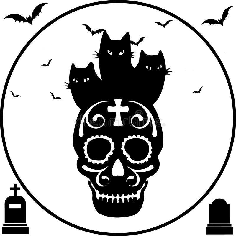 Halloween I gatti del nero tre si siedono sul cranio, struttura rotonda illustrazione di stock