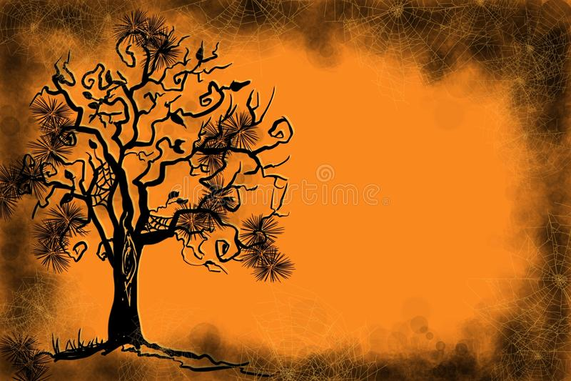 Halloween i spadek scena straszne pająk sieci i latanie nietoperze z sezonowym autum kolorem w złocie i pomarańcze, royalty ilustracja