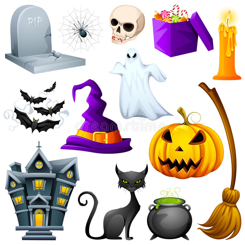 Halloween Icon. Vector illustration of collection of Halloween icon set