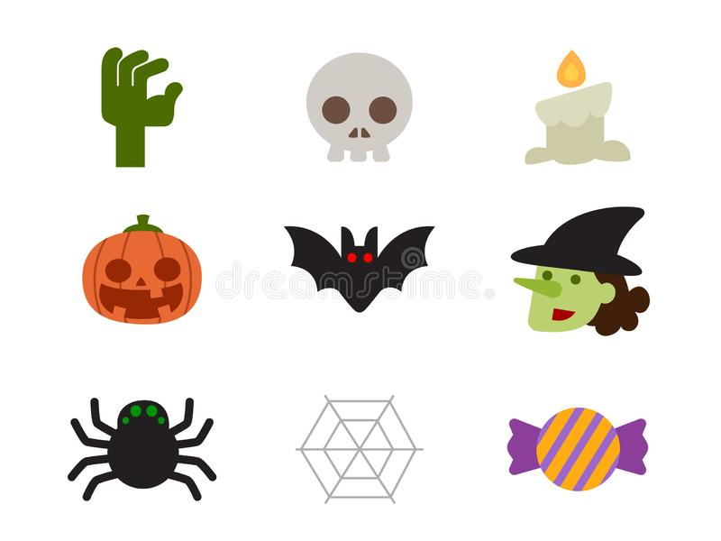 Halloween icon set of characters design in flat design. royalty free stock photos