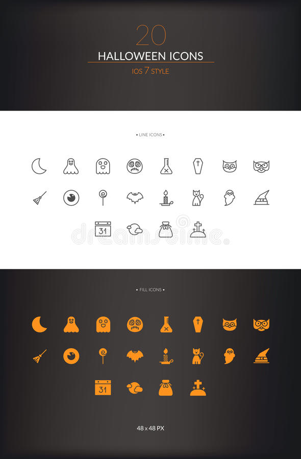 Halloween Icon Set. Pixel perfect halloween icon set made on 48 pixel sized pixel grid. Source file named and layered separately with smart line stroke stock photos