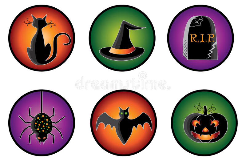 Halloween Icons. A set of spooky halloween icons and buttons stock illustration