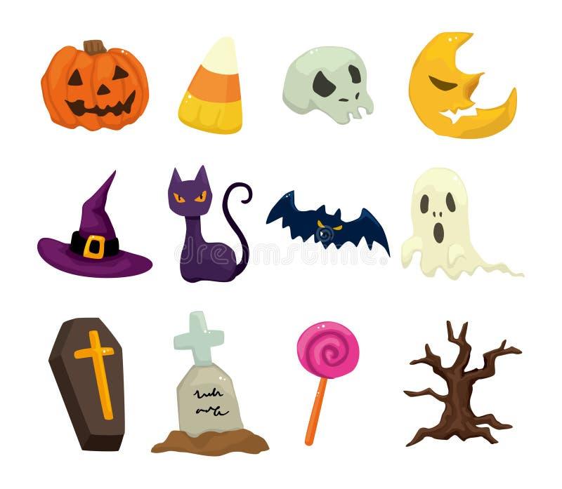 Halloween icons set vector illustration