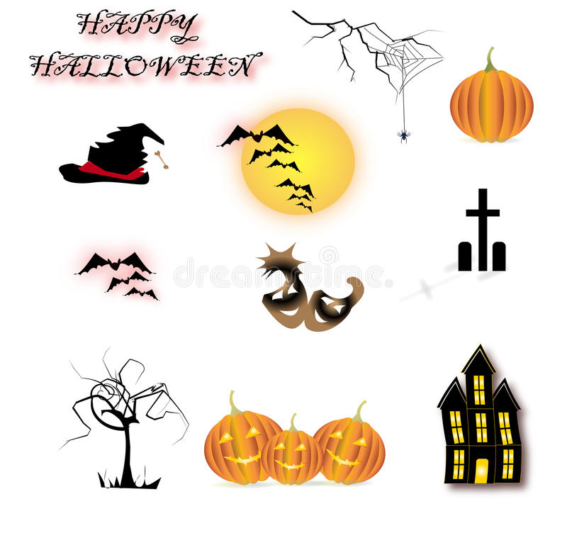 Download Halloween icons stock vector. Image of mask, twig, tomb - 30916665