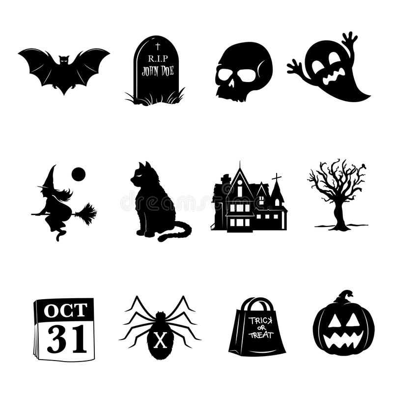 Halloween Icons. A set of scary black and white icons for Halloween