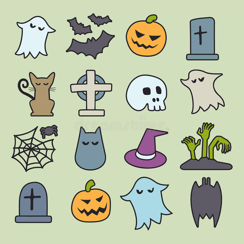 Halloween icons set. Halloween seamless pattern. Background vector. Pumpkin, Ghosts, Cats, Skulls, Bats and other symbols royalty free illustration