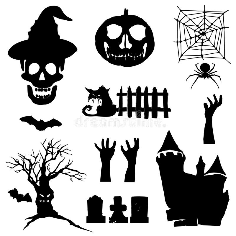 Halloween icons. Set of silhouettes for Halloween. Vector illustration on white background. vector illustration